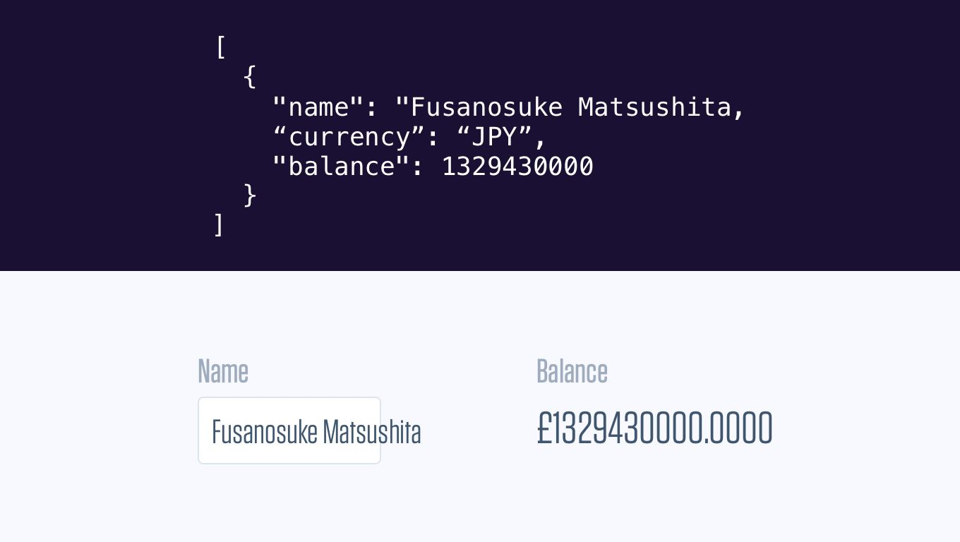 An example of overflowing text input and incorrect currency symbol and rounding.